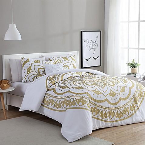 Vcny Karma Duvet Cover Set In Gold White Bed Bath Amp Beyond