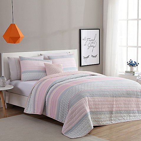 Vcny Home Stockholm Quilt Set In Pink Grey Bed Bath Amp Beyond