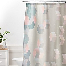 Deny Designs Emanuela Carratoni Exagonal Geometry Shower Curtain in Grey