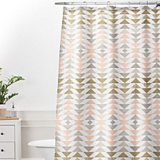 Deny Designs Georgiana Paraschiv Metallic Triangles Shower Curtain in Gold