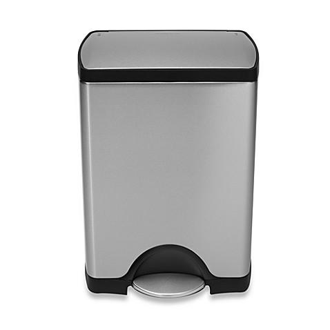 simplehuman deluxe stainless steel fingerprint proof rectangular 30 liter step on trash can. Black Bedroom Furniture Sets. Home Design Ideas