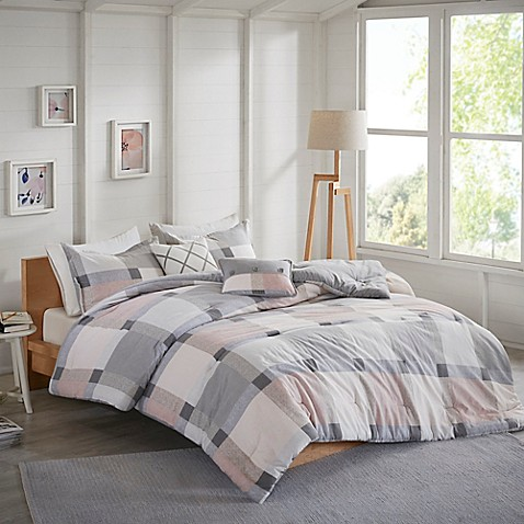 Jan Reversible Flannel Comforter Set In Blush by Bed Bath And Beyond