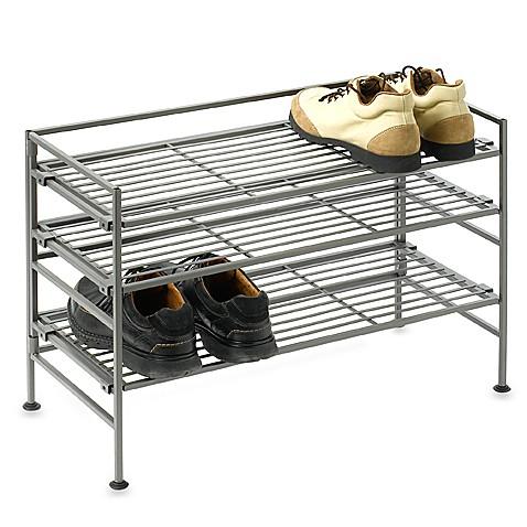 3 tier iron stackable shoe shelf bed bath beyond. Black Bedroom Furniture Sets. Home Design Ideas