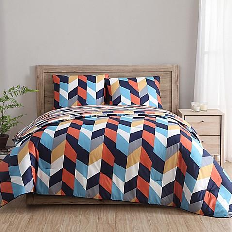 Clairebella geometric reversible comforter set in indigo orange bed bath beyond - Blue and orange bedding sets ...