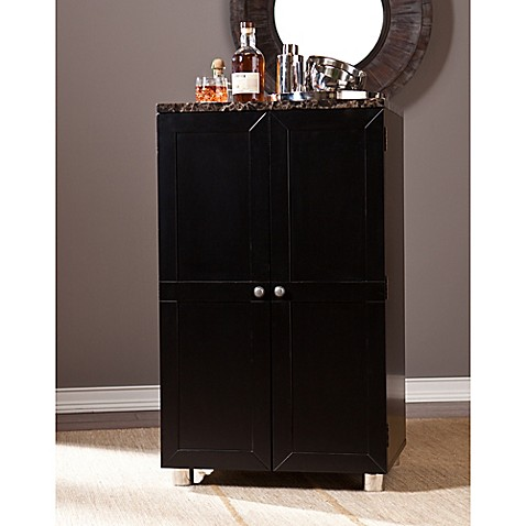 Southern enterprises cape town bar cabinet in black bed for Bathroom cabinets cape town