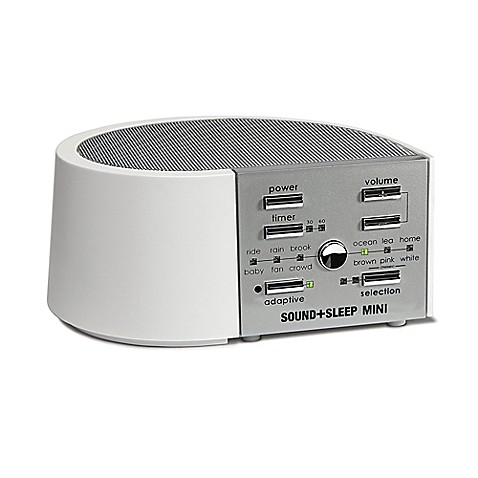 Sound sleep mini sound machine in white silver bed bath for Bathroom noise maker