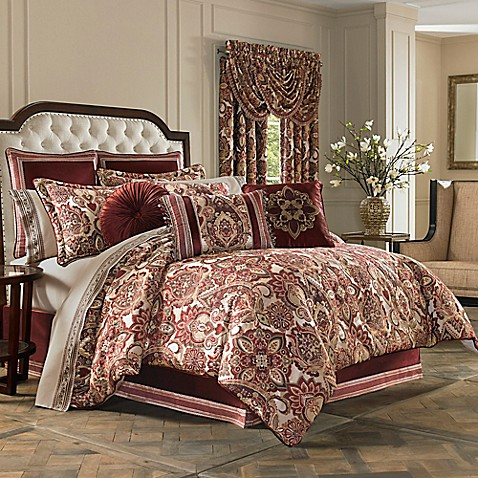J Queen New York Rosewood Comforter Set In Burgundy Bed