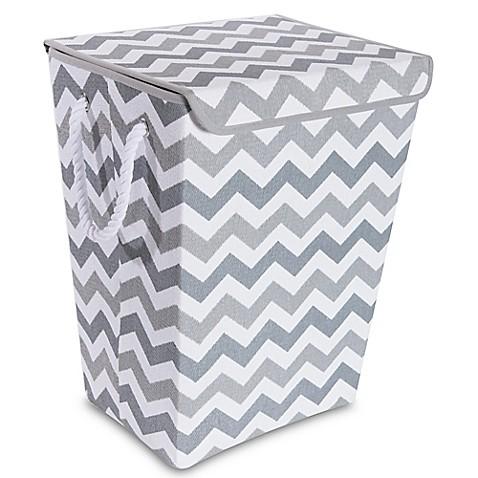Taylor Madison Designs 174 Chase Chevron Hamper In Grey White