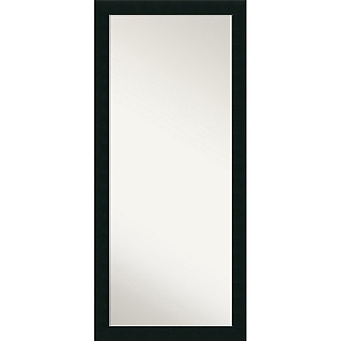 Amanti art corvino floor leaner mirror in black bed bath for Black framed floor length mirror