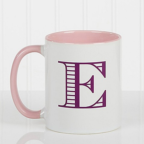 Striped Monogram 11 oz. Coffee Mug in Pink at Bed Bath & Beyond in Cypress, TX | Tuggl