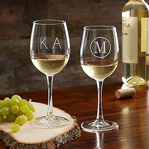 Classic Celebrations 12 oz. White Wine Glass with Monogram at Bed Bath & Beyond in Cypress, TX | Tuggl