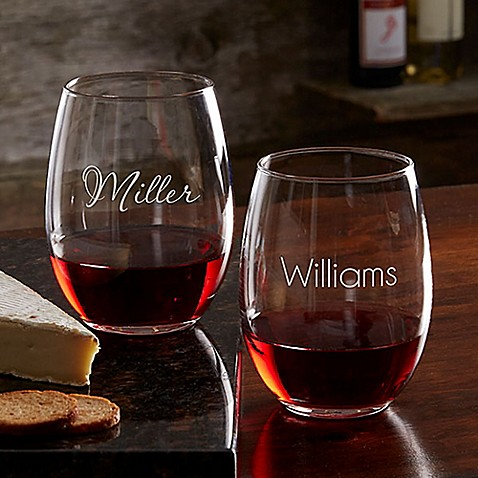 Classic Celebrations 21 oz. Stemless Wine Glass with Name at Bed Bath & Beyond in Cypress, TX | Tuggl
