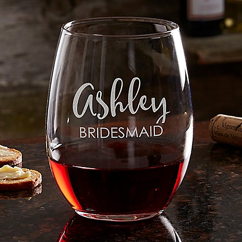 Bridal Party 21 oz. Stemless Wine Glass at Bed Bath & Beyond in Cypress, TX | Tuggl