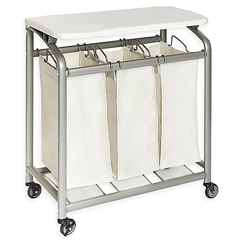 Seville Classics 3 Bag Laundry Sorter Hamper Cart With