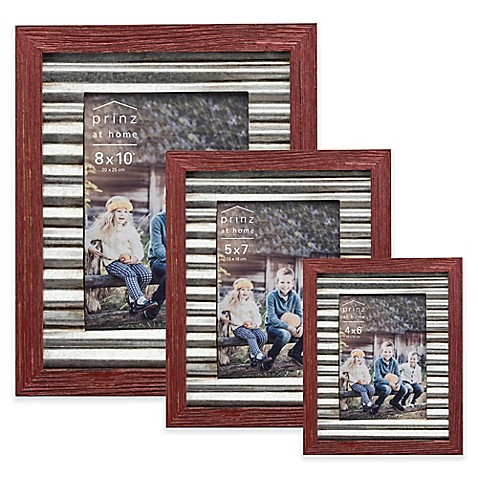 Prinz Galvanized Metal And Wood Border Picture Frame In