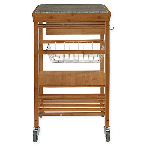 Granite Bamboo Rolling Kitchen Cart Bed Bath Beyond
