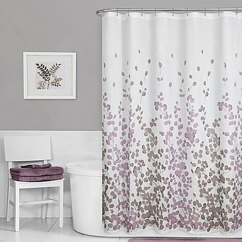 maytex leaf print shower curtain in purple bed bath beyond. Black Bedroom Furniture Sets. Home Design Ideas