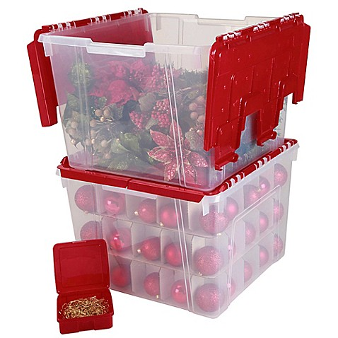 Iris 174 Wing Lid Storage Box With Ornament Divider In Red