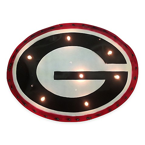 University Of Georgia Bulldogs Illuminated Recycled Metal