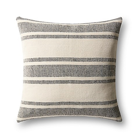Black Throw Pillows Bed Bath And Beyond : Magnolia Home by Joanna Gaines Carter Square Throw Pillow in Black/Ivory - Bed Bath & Beyond