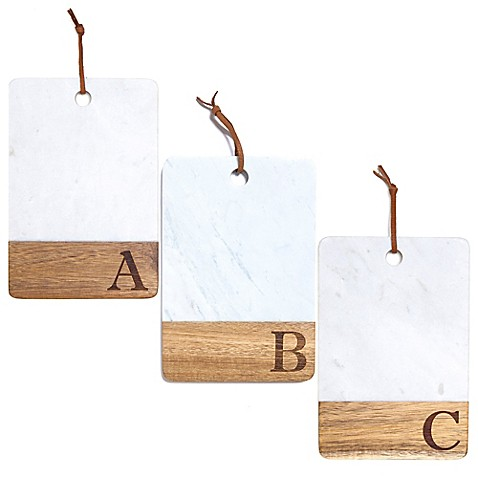 Artisanal Kitchen Supply® Monogram Marble and Acacia Wood Paddle Board | Tuggl
