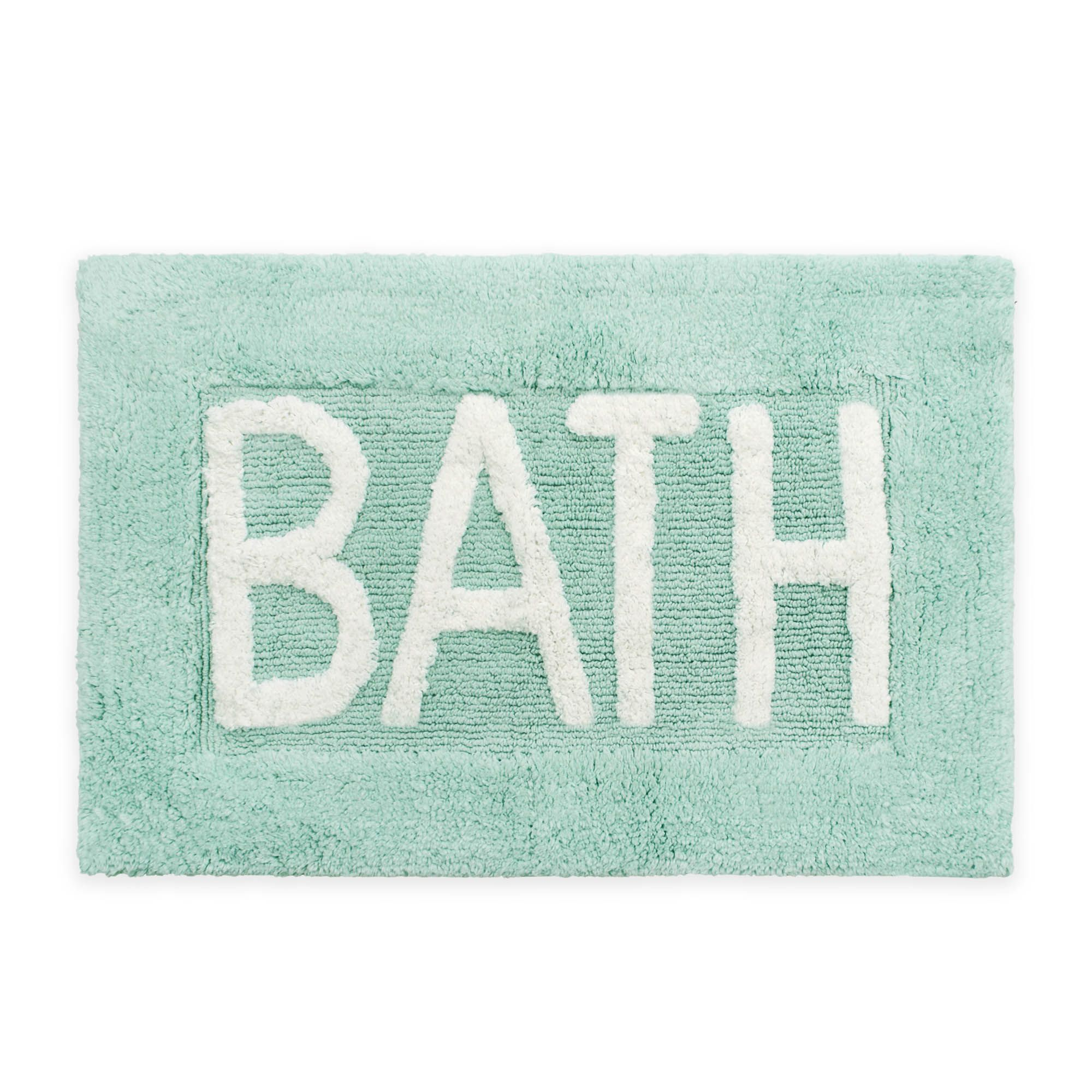 "Jean Pierre 21 Inch X 34 Inch ""Bath"" Bath Rug In Aqua by Bed Bath And Beyond"
