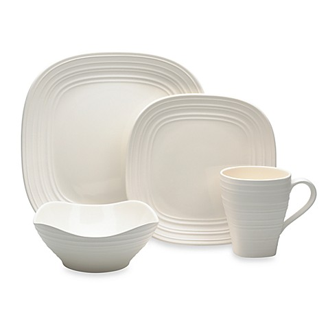 Mikasa® Swirl Square Dinnerware Collection in White at Bed Bath & Beyond in Cypress, TX | Tuggl