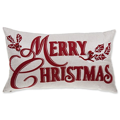 Buy Merry Christmas Oblong Throw Pillow in Red from Bed Bath & Beyond