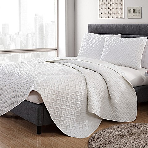 Vcny Home Nia Embossed King Quilt Set In White by Bed Bath And Beyond