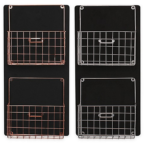 Kate and Laurel Dinah Chalkboard Wall Organizer with Metal Baskets at Bed Bath & Beyond in Cypress, TX | Tuggl