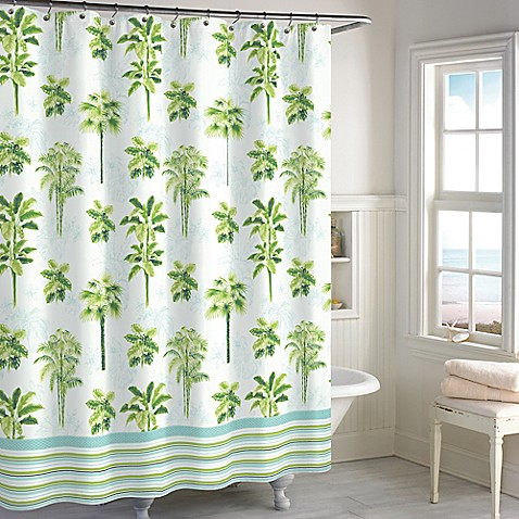 Destinations Tropical Palm Shower Curtain In Green Bed