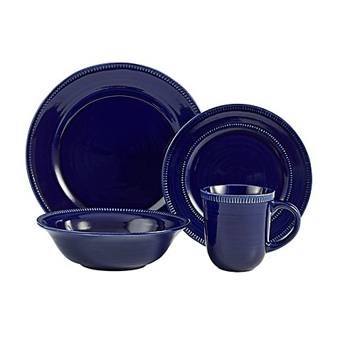 American Atelier Indigo 16-Piece Dinnerware Set in Navy | Tuggl