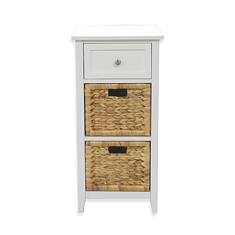 3-Drawers Bathroom Floor Cabinet in White at Bed Bath & Beyond in Cypress, TX | Tuggl