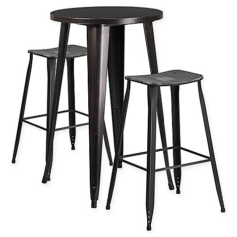 Flash Furniture 3 Piece 24 Inch Round Metal Bar Table And