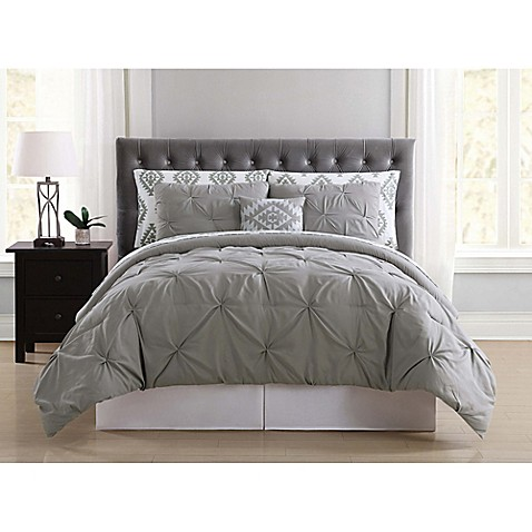 Truly Soft Pueblo Pleated 6 Piece Twin Xl Comforter Set In Grey by Bed Bath And Beyond