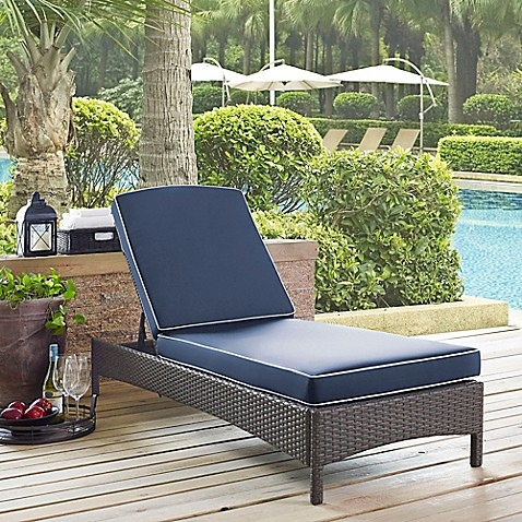 Crosley palm harbor outdoor wicker chaise lounge with - Bed bath and beyond palm beach gardens ...