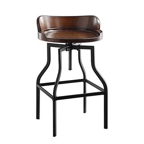 Carolina cottage marais adjustable bar stool in chestnut black bed bath beyond for Tabouret bar ajustable