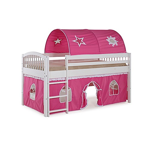 Addison Junior Loft Bed With Tent And Playhouse In White