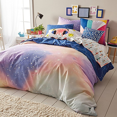 Scribble Twilight Reversible Comforter Set In Peach Navy