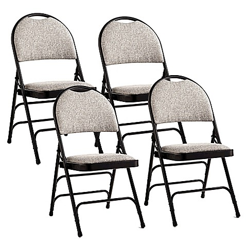 Samsonite 174 Fan Back Folding Chairs In Black Grey Set Of 4