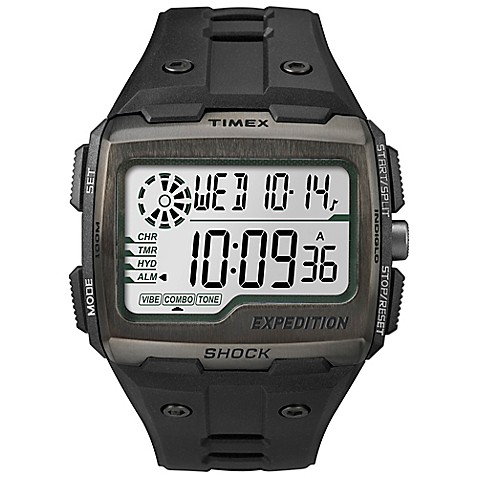 Buy Timex Expedition Mens 50mm Grid Shock Watch In Black Resin WBlack Silicone Strap From