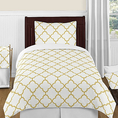 kids bedding sets sweet jojo designs trellis 4 piece twin comforter set in white gold from buy. Black Bedroom Furniture Sets. Home Design Ideas