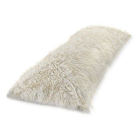 Metallic Faux Fur Body Pillow Cover in White/Gold at Bed Bath & Beyond in Cypress, TX | Tuggl