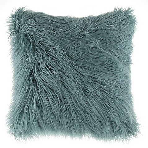 Buy Mongolian Faux Fur Square Throw Pillow In Teal From