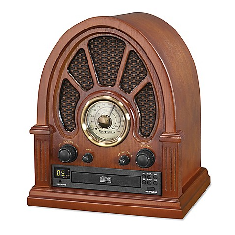 victrola bluetooth radio with cd player in brown bed bath beyond. Black Bedroom Furniture Sets. Home Design Ideas