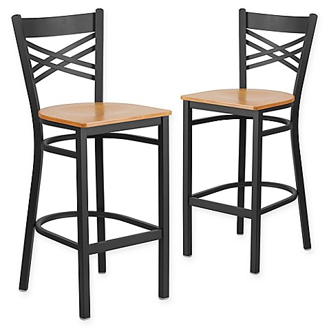Buy Flash Furniture X Back Metal Wood Bar Stools In Natural Black Set Of 2 From Bed Bath