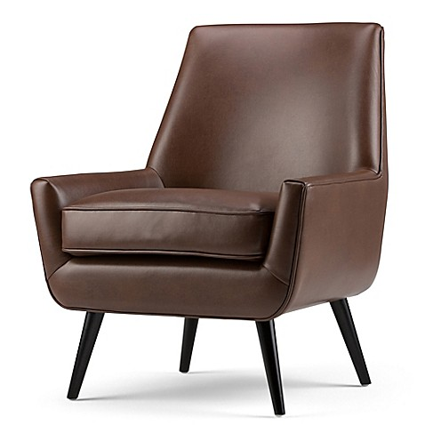 Simpli Home Warhol Mid-Century Air Leather Arm Chair at Bed Bath & Beyond in Cypress, TX | Tuggl