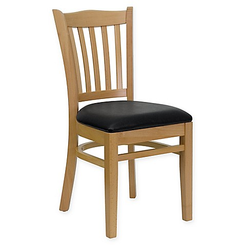 Flash Furniture Vertical Slat Back 34.5-Inch Wood Chair with Vinyl Seat at Bed Bath & Beyond in Cypress, TX   Tuggl