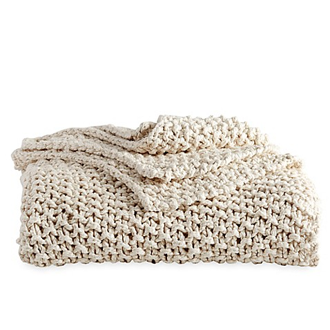 DKNYpure® Silky Chunky Knit Throw Blanket in Natural   Tuggl