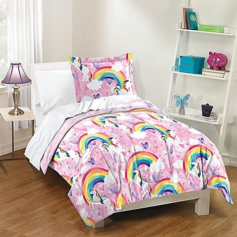 Dream Factory Unicorn Rainbow Reversible Comforter Set